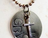GRACE - Hand Stamped Necklace - Faith - Christian - Saved by Grace