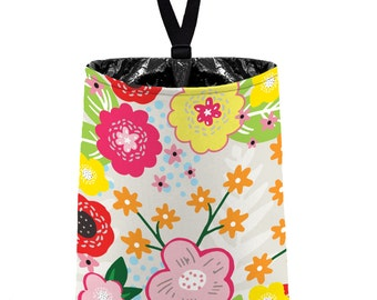 Car Trash Bag // Auto Trash Bag // Car Accessories // Car Litter Bag Car Garbage Bag - Floral Burst Pale Taupe Car Organizer Flower