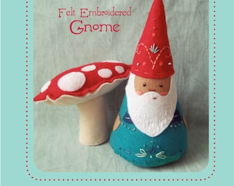felt embroidered NŌM gnome santa plush doll PDF pattern Christmas decor
