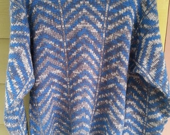 Vintage 80s Abstract Geometric Chevron Sweater Size M/L