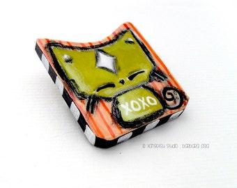 Cat Brooch Kawaii Green Kitty Pin XOXO