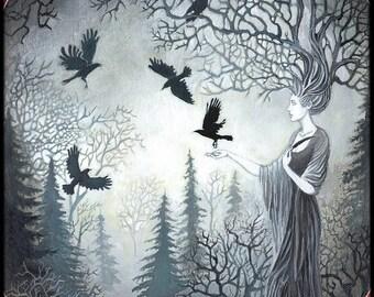 Goddess Macha and the Unkindess of Ravens Art 5x7 Greeting Card Pagan Mythology Celtic Witch Goddess Art