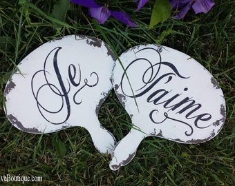 Mr and Mrs Wedding Signs | Wooden Wedding Signs | Je T'aime | I Love You in French | Photo Props | Distressed Signs | Rustic Wedding Signs