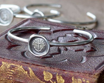 Anchor Bracelet - Hope in Thee Wax Seal Bracelet - Anchor Jewelry - 158