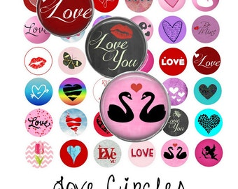 Love Circles Digital Collage Sheet - 1 Inch Circles - Instant Download