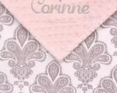 Personalized Baby Girl Blanket , Baby Girl Minky Blanket , Grey Damask Minky Blanket , Stroller Blanket 30x40