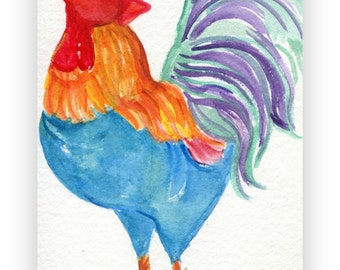 Rooster watercolors painting original,  Chicken Art, watercolor painting of colorful chicken, 4 x 6, bird art, chicken decor