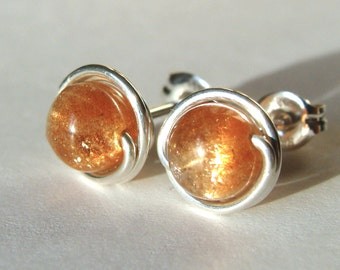Sunstone Earrings Sunstone Studs 4-5mm Shimmering Sunstone Post Earrings Wire Wrapped in Sterling Silver Stud Earrings Studs