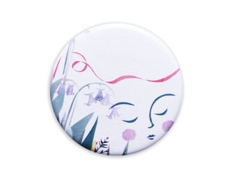 Moon badge pin / fridge magnet - brooch moon lady pin game gift present card
