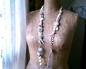 Pearly White Necklace, Fibre, Beaded, Mother of Pearl, Vintage Textiles, Shell, Chain, Boho Necklace, Long, Vintage Buttons
