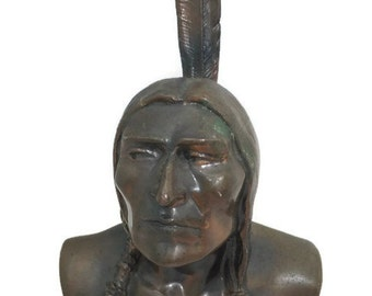 Vintage Shawmut Indian Bank - Shawmut Native American Bust Figurine, Bank Advertising, Melrose Wakefield Trust, vintage home decor