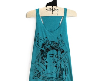 M- Tri-Blend Teal Racerback Tank with Frida Screen Print