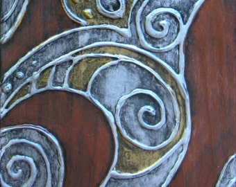 Antiqued dimensional ANGEL - silver and bronze - original abstract painting