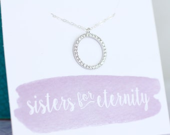 Sister Necklace, Sister Gift, Sorority Sister Gift, Big Gift, Little Gift, Silver Circle Necklace, Cubic Zirconia, CZ Diamond, Birthday Gift