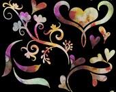 Watercolor Hearts and Swirls Clip Art Set, PNG Clip Art, Hearts, Flowers, Clip Art, Watercolor Graphics, Digital Scrapbooking Elements, Art