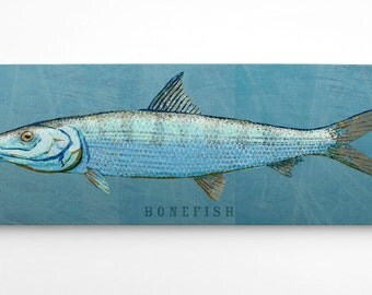 Fish Gifts for Him- Husband Gift- Bonefish Art Block- Saltwater Fish Art- for Beach House Art- Unique Gift Ideas- Home Gifts- for Dad Gifts