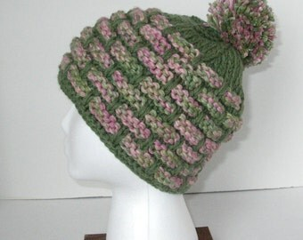 Green and Pink Knit Acrylic Hat