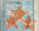 Primitive Star Ornaments, Antique Quilt Stars, Patriotic Rustic Star Ornaments, Americana Decor, Brown Mustard Pink Red - set of 3