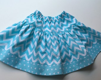Girls SKIRT - CHEVRONS - Sky Blue - Girls Spring Summer Cotton Drop Waist Twirly Skirt - size S M  L - Easter Skirt