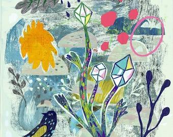 Gemstone Garden, Modern Art Print, Wall Art, Wall Decor