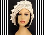 Ivory Crochet Hat Womens Hat, Crochet Beanie Hat, Ivory Sparkle Hat, Ivory Hat, African Hat, Crochet Winter Hat, LAUREN Beanie Hat for Women