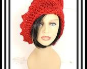 Red Crochet Hat Womens Hat, Crochet Beanie Hat, Red Sparkle Hat, Red Hat, African Hat, Crochet Winter Hat, LAUREN Beanie Hat for Women