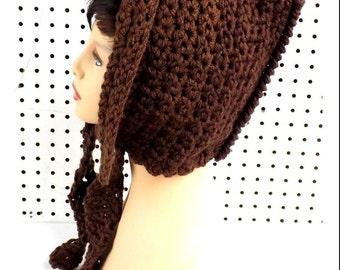 Crochet Hood, Crochet Hat Womens Hat Crochet Scarf, Hood Scarf, Hooded Scarf, Winter Hat, Ear Flap Hat, Brown Hat, MAIDEN