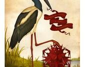 Geometric art print - Poincare's poetry - Limited Edition Print - Watercolor painting, bird print, geometric print
