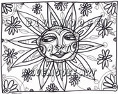Bluemoose ART Coloring Page Sunshine Smile Adult & Child Coloring ART therapy