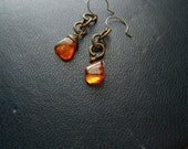 fireflies - wire wrapped amber earrings organic amber with natural inclusions - warm orange fiery color