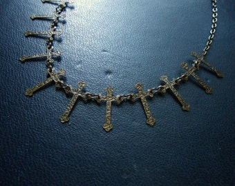 impure - choker with a row of crosses - soft grunge sad girl necklace