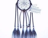 Navy Blue Dream Catcher, Peacock Eyes Feathers