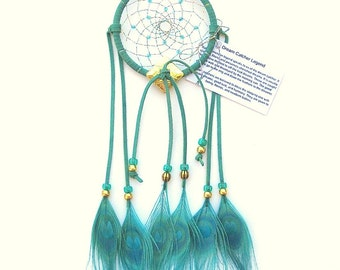 Sky Blue Dream Catcher, Peacock Eyes Feathers