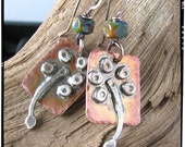 Urban Life 1 Rustic Wild Flower Earrings Sterling Silver .925 and Copper by Nathalie Lesage NatLJ Comox Vancouver Island Canada SRAJD