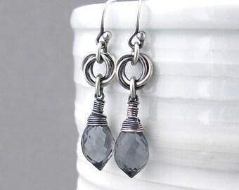 Silver Drop Earrings Gray Earrings Sterling Silver Earrings Love Knot Earrings Unique Silver Earrings Bohemian Jewelry Handmade Jewelry