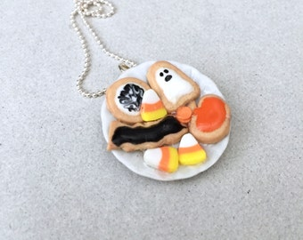 SALE - Halloween Cookie Plate Necklace - polymer clay miniature food jewelry