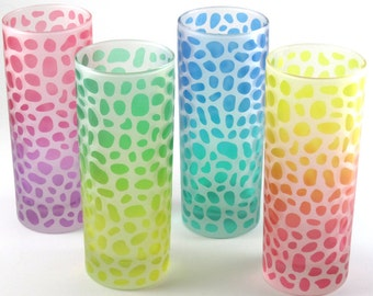 River Rocks - Highball Tumbler Glasses - Set of 4 - Frosted Style - Etched and Painted Glassware - Custom Made to Order