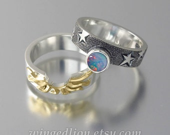 SOLAR ECLIPSE Sun and Moon Engagement ring set with Blue Opal in silver and 18k yellow gold