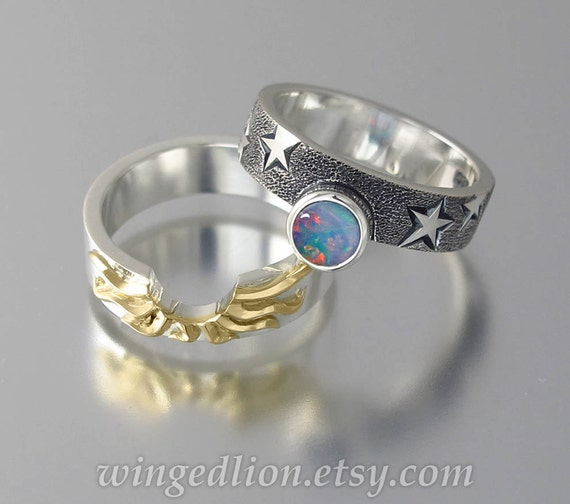 Solar Eclipse Sun And Moon Engagement Ring Set With By