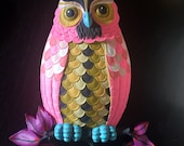 Owl - hand painted found object wall art