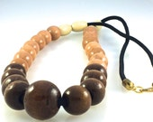 Wood, and Hematite Stone Large Bead Necklace