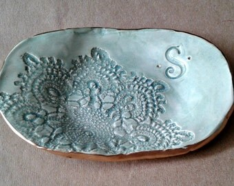 Initial Bridesmaid Gift Monogram Ceramic jewelry dish Made To Order ONE edged in gold 3 inches wide