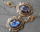 Nebula Blue Glass Earrings, Dichroic Glass Earrings, Blue Earth Earrings, Art Deco Earrings, Art Nouveau Earrings, Fleur Di Lis Earrings