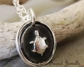 Sea Turtle Pendant In Fine Silver, Turtle Jewelry, Sterling Silver Chain, Nautical, Beach Jewelry