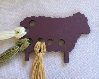 purple Sheep embroidery floss organizer painted wood ewe