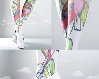 Tattoo Tights, Paradise white Closed Toe one size full length printed tights, pantyhose, nylons, tattoo socks