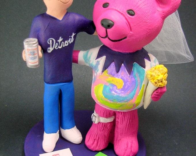 Grateful Dead Jerry Bear Bride Wedding Cake Topper, Custom Grateful Dead Dancing Bears Wedding Cake Topper, Jerry Bear Wedding CakeTopper