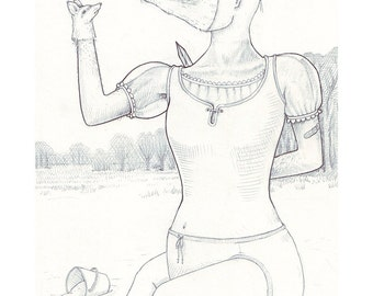Exquisite Corpse #14 | Art Print | Drawing by Marie Gardeski and David Birkey
