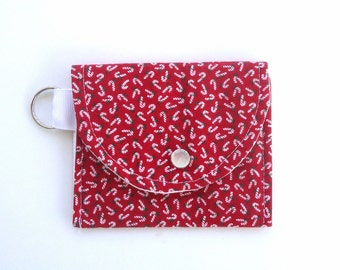 Candy Cane Coin Purse, Gift Card Case, Keychain Wallet, Vintage Inspired