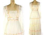 RESERVED for artemis53 70s Gunne Sax Maxi Dress / Vintage 1970s Hippie Boho Renaissance Peasant Bridal Festival Dress in Creme Gauze / Prom